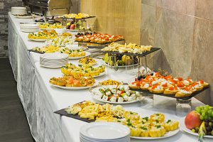 Catering food in restaurants - snacks, salads, cheese
