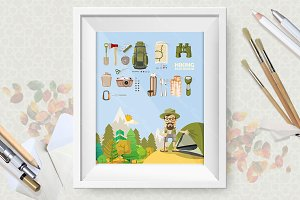 Hiking and camping poster