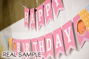 Pink Birthday Monkey banner
