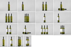 Wine Bottle Mock-Up Photo Bundle