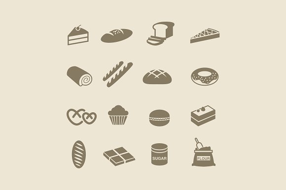 16 Bread And Patisserie Icons