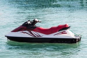 jet ski on the beach in the sea
