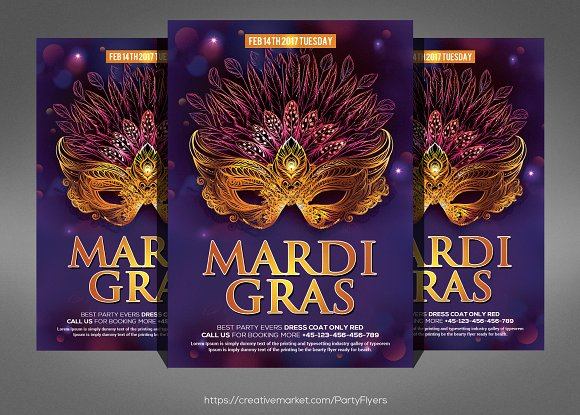 Mardi Grass Party Flyer Template