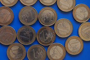 1 euro coins, European Union over blue