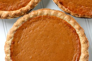Three Pumpkin Pies Closeup