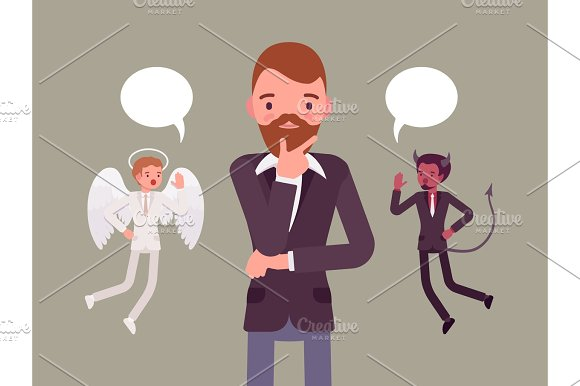 Angel And Devil Hovering Over A Thinking Man
