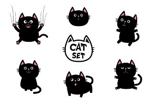 Cute black fat cat set.