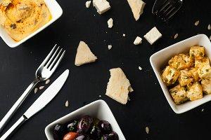 Hummus, pita, olives and feta cheese
