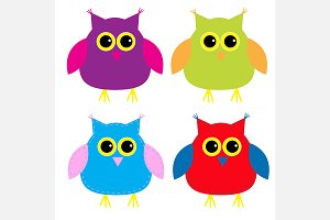 Set of cute cartoon owls.