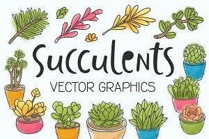 Succulents 14 vector illustrations