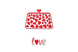 Clutch with red hearts.