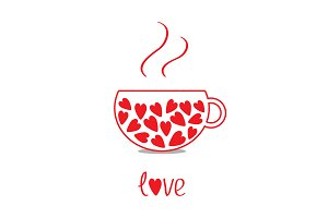 Love teacup with red hearts