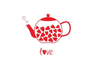 Love teapot with red hearts.