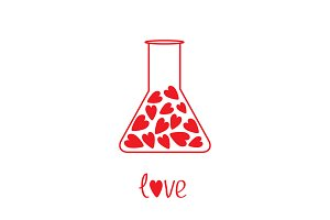 Laboratory glass with red hearts