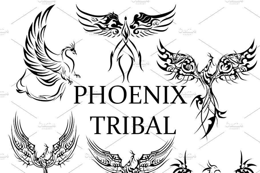 ddae843aa100a 6 Phoenix Tribal Tattoos ~ Graphic Patterns ~ Creative Market
