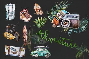 Watercolor Adventure Clipart Set