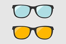 Glasses set. Blue and yellow lenses.