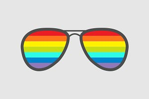 Glasses with rainbow lenses.