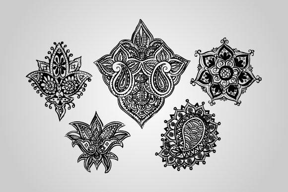 Henna Mehndi Vector : 30 henna mehndi designs vector ~ objects creative market