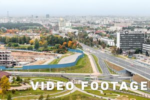 Crossroad in the city of Minsk. Autumn, timelapse shot