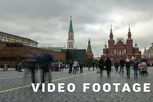 Red Square in Moscow. Timelapse shot