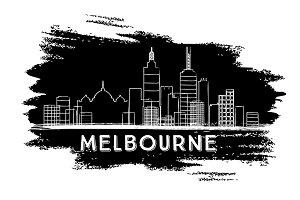 Melbourne Skyline Silhouette.