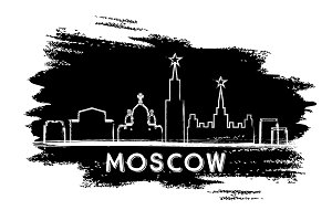 Moscow Skyline Silhouette.