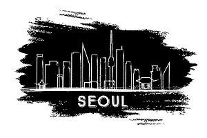 Seoul Skyline Silhouette.