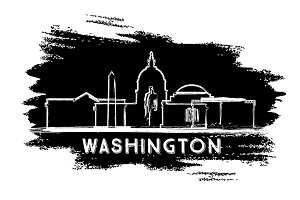 Washington DC Skyline Silhouette.