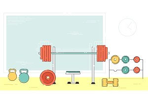 Gym exercise equipment room interior indoor set. Linear stroke outline flat style vector icons. Monochrome cycle bike power weight lifting gymnastics rings ball wall bars icon collection