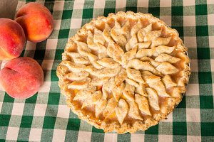 Peach pie and peaches