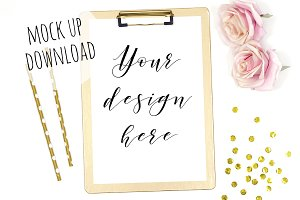 Gold Clipboard Mockup Styled Photo