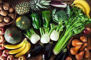 various organic freshly vegetables