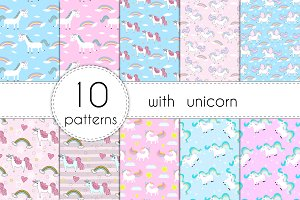 10 Patterns with cute unicorn.