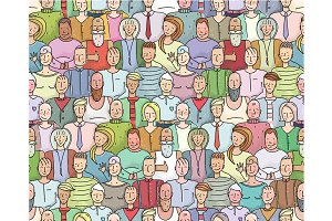 Smiling People Crowd Pattern