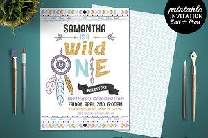 Wild One Boho Birthday Invitation