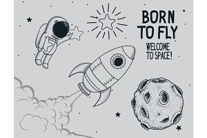 Born to fly. vintage vector illustration