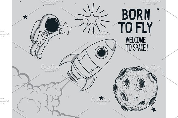 Born To Fly Vintage Vector Illustration