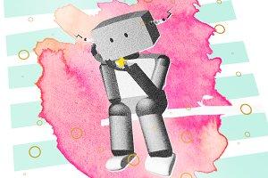 Sad Robot Watercolor Illustration