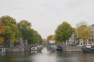 Canal in Amsterdam, Amstel river, Holland, Netherlands