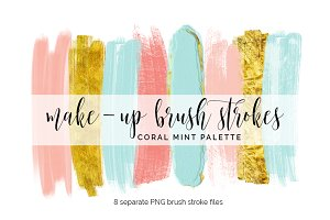 Brush Strokes Clipart - coral mint