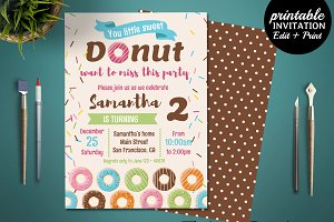 Donut Birthday Party Invitation