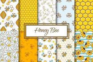 Honey Bee Seamless Patterns