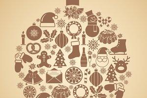 Vintage Christmas tree symbol
