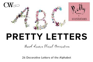 Floral Decorated Monograms Alphabet