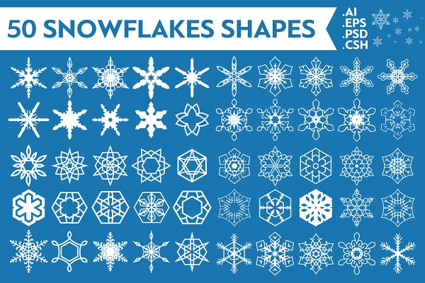 Shapes: pixaroma - 50 Snowflakes Vector Shapes Vol.1