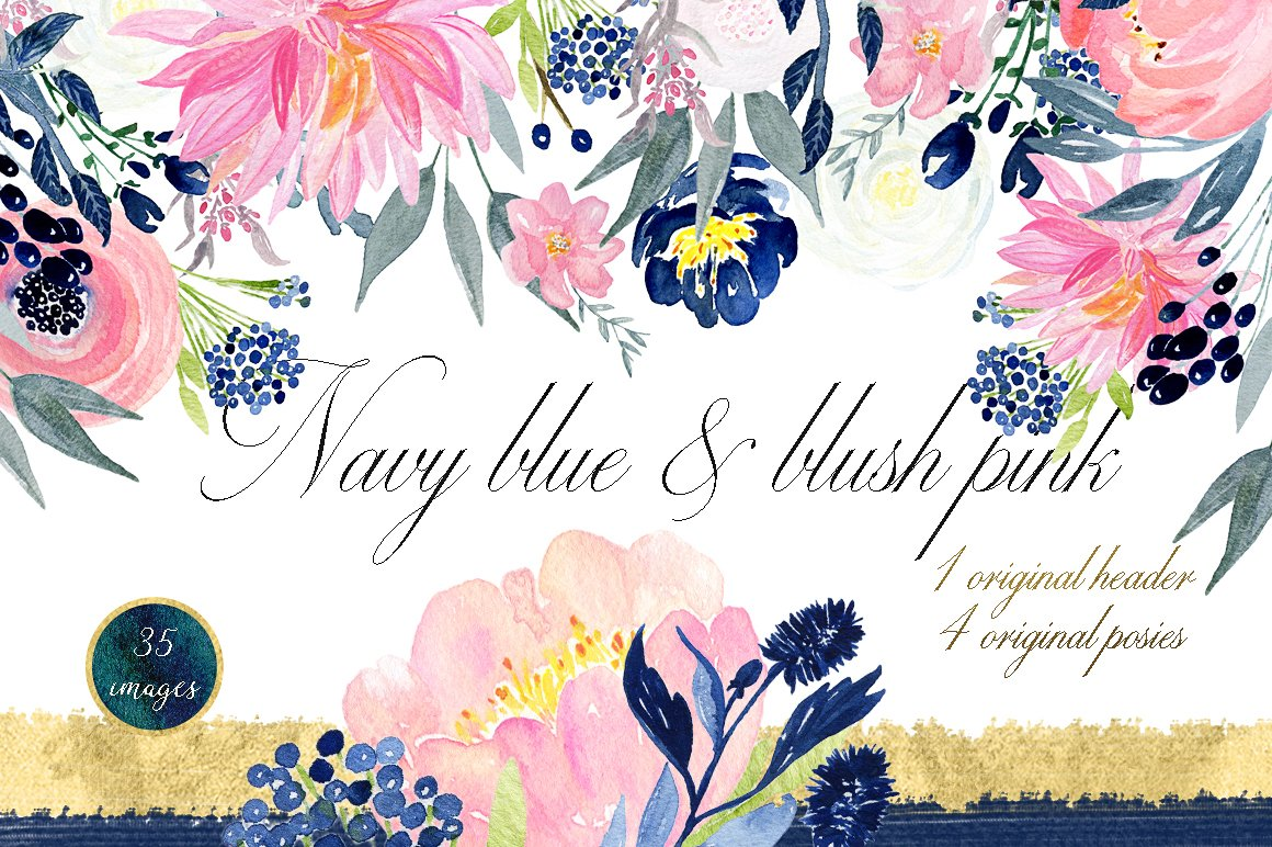 Navy Blue Blush Pink Flowers Illustrations Creative Market