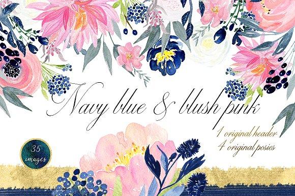 Navy blue blush pink flowers illustrations creative market mightylinksfo