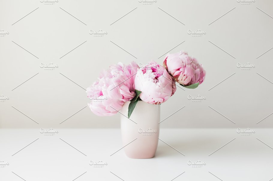 Pink Vase Of Peonies Nature