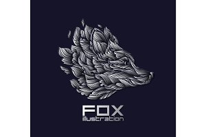 Vector Fox or Wolf Design Icon Logo Luxury Silver